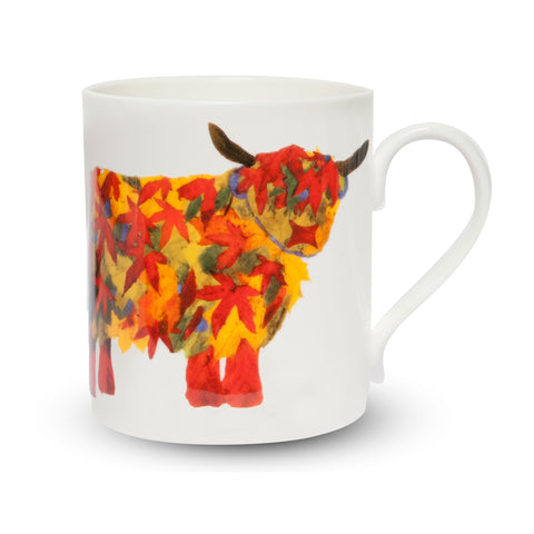 Scottish Themed   China Mug – Leafy  Highland Cow Design
