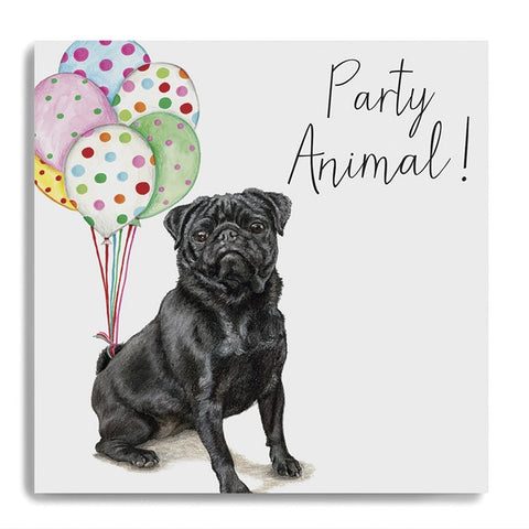 Party Animal - Pug Holding Balloons