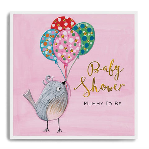 Baby Shower Mummy To Be - Bird with Balloons - Beautiful Card