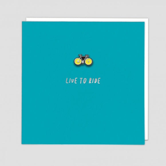 Live To Ride Card With Enamel Pin