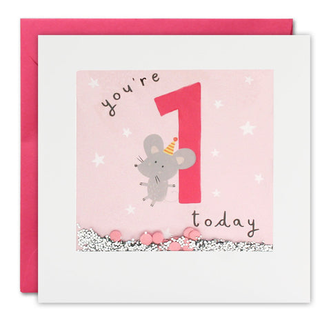 Age 1 Birthday Shakies Card - Girl