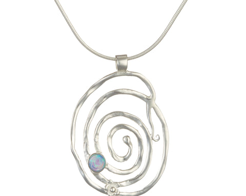 Textured Silver Spiral Pendant Set With Opalite