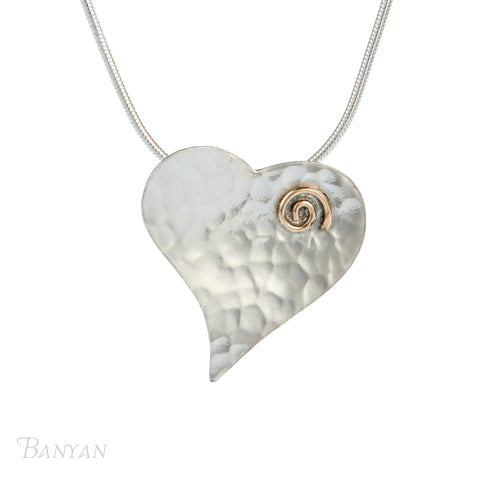 Silver Hammered Heart Necklace With Gold Fill Spiral Detail