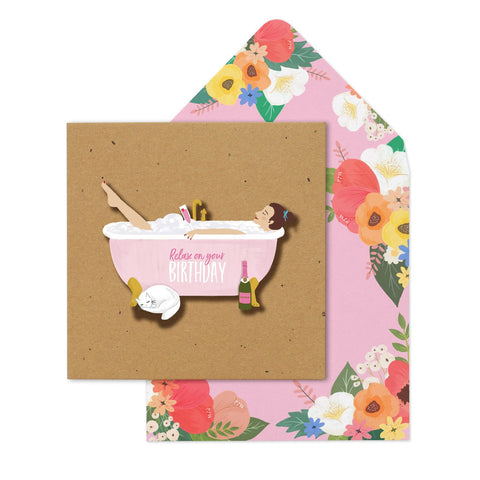 RELAX ON YOUR BIRTHDAY BATH  Card - Contemporary