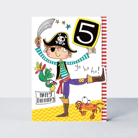 Age 5  Pirate Birthday Card