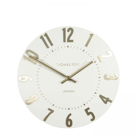 "12"" Contemporary and Stylish  Mulberry Wall Clock Ivory Champagne."