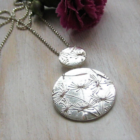 Beautiful Handmade Double Disc Silver Necklace.
