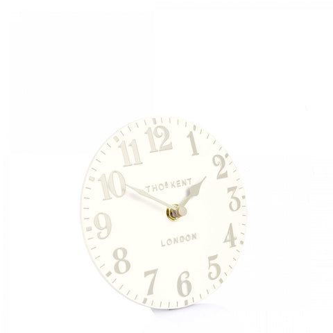 "6"" Arabic Mantel Clock White Linen"