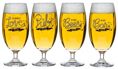 Club Beer Glasses 4-Pack - Contemporary -Dishwasher Safe