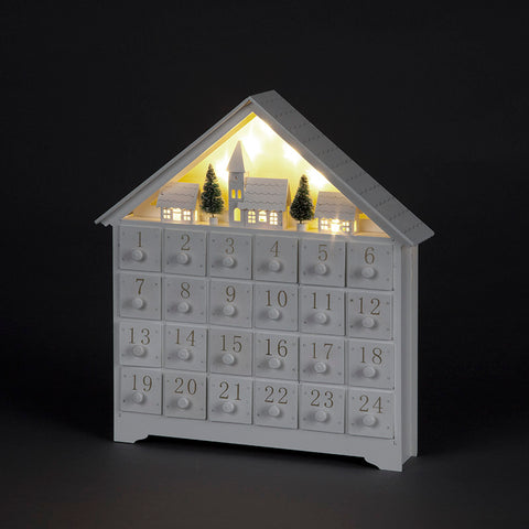 Beautiful White  Christmas Advent Calendar House - Battery Operated