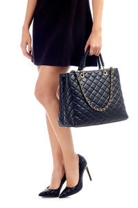 Ladies  Black Italian Leather Handbag.