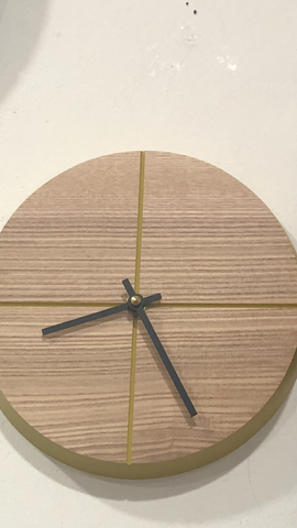 Contemporary Quarter to Wooden Wall Clock - Mustard - Handmade