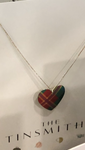 Handmade In The Uk - Lightweight Tartan Heart Shaped Necklace with Silver Chain