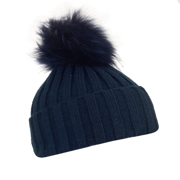Luxury Soft Black Wool Hat With Detachable PomPom