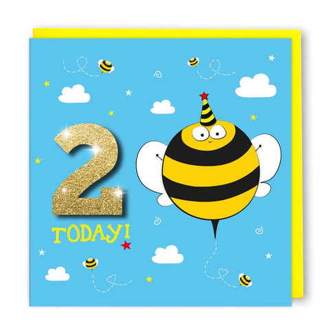 Age 2 Bumblebee Birthday Card
