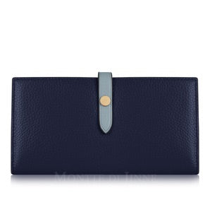 Ladies Navy/Pale Blue Italian Leather Purse - Light Weight