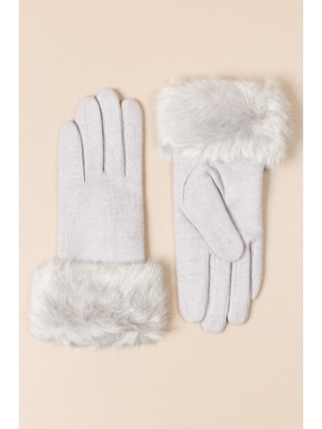 Woo Gloves With Faux Fur Cuffs