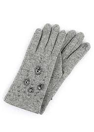 Popular Grey Wool Jewelled Gloves Fleece Lined Inside