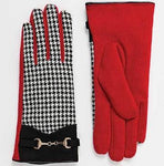 Gorgeous Red And Black Wool Fully Lined Gloves