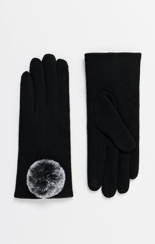 Black Wool Gloves With Pop Pom