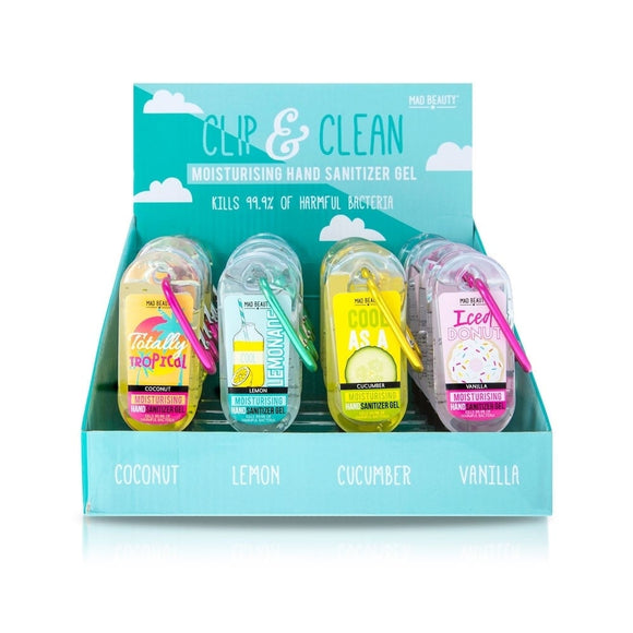 Clip & Clean Gel Sanitizer - Cool Collection -Mad Beauty  -4 Fragrances
