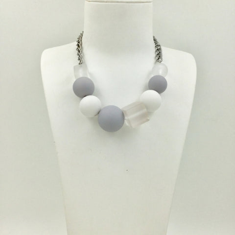 Beautiful  Costume Necklace-Grey White and Clear