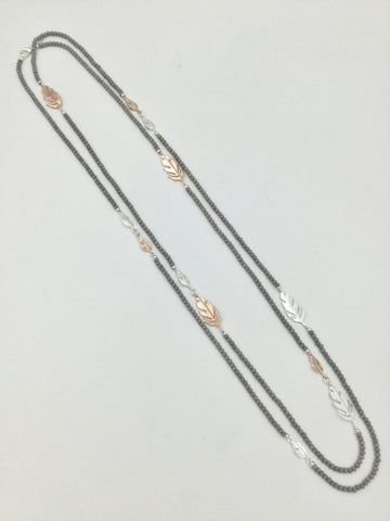 Beautiful  Long Costume Necklace -Grey, Rose Gold and  Silver