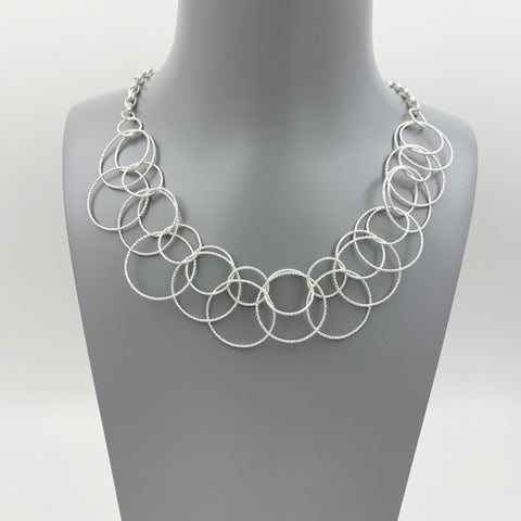 Beautiful Short Silver Costume Necklace