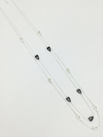 Beautiful  Long Costume Necklace -Magnetic Clip -Black and  Silver