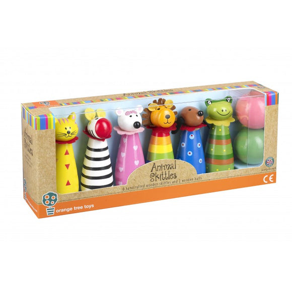 Traditional Colourful Wooden - Animal Circus Skittles.