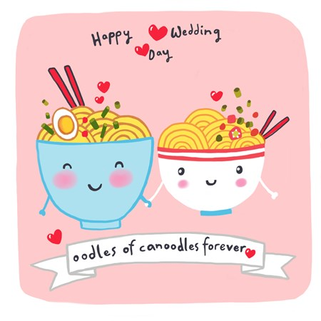 Oodles Of Canoodles Forever - Quirky Wedding Day Card