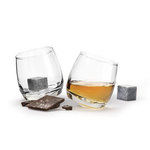 Contemporary  Rocking Whiskey Glasses Pack of 2 with 2 Stones