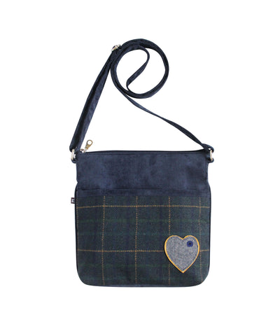 Quality Scottish Designed Navy Heart Tweed Applique Sling Bag