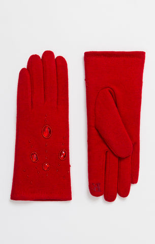 Beautiful Ladies Red Jewelled Gloves