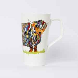 Scottish Themed   China Mug – Highland Cow  Design Cone  Shape Mug.