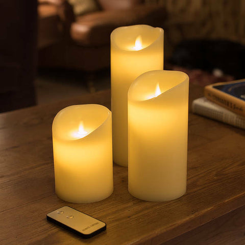 Boxed Set Of 3 Moving Flame Battery Operated Candles - Ivory OR White