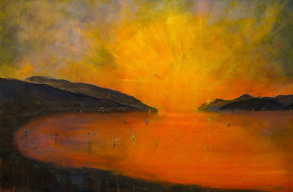 Loch Ness Sunset Black Framed Picture