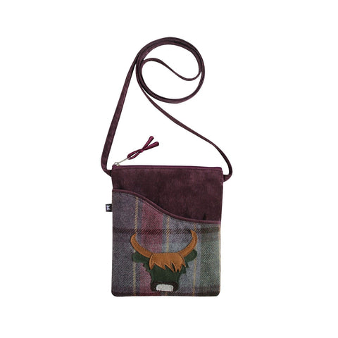 Quality Scottish Designed Heather Cow Tweed Applique Sling Bag
