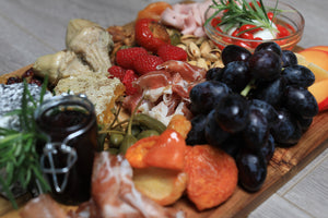 charcuterie board with local seasonal fruit and veggies