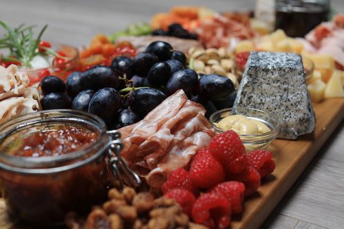 charcuterie board with seasonal selections