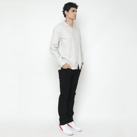 Mulhouse Linen White Camp Collar Shirt LS