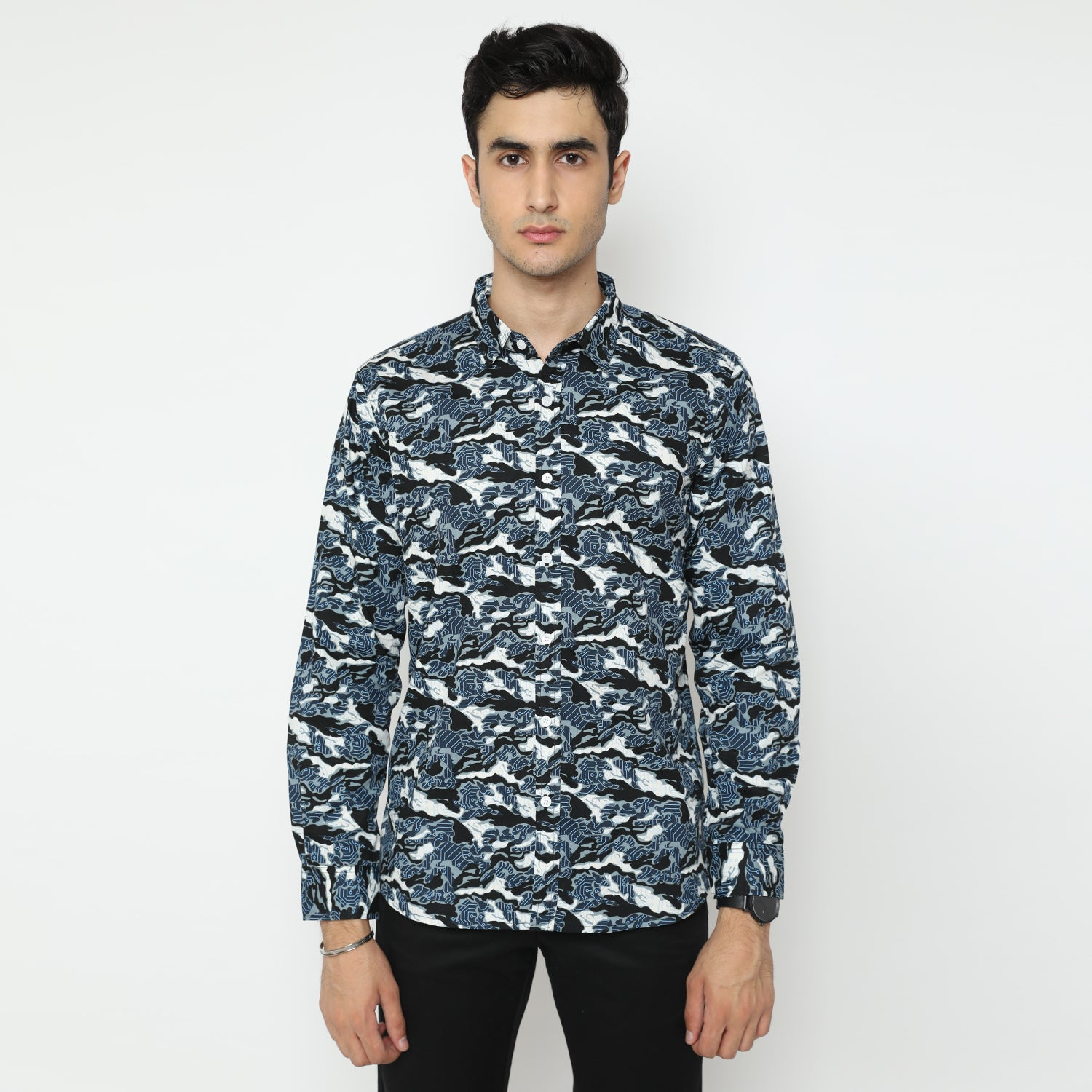 Reeve Camo White Long Sleeve Shirt