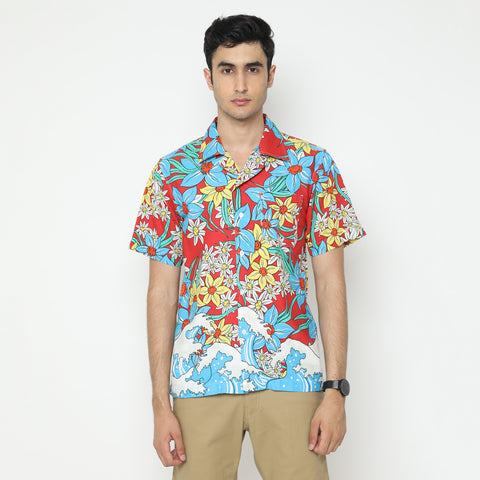 Tahitian Red Camp Collar Shirt