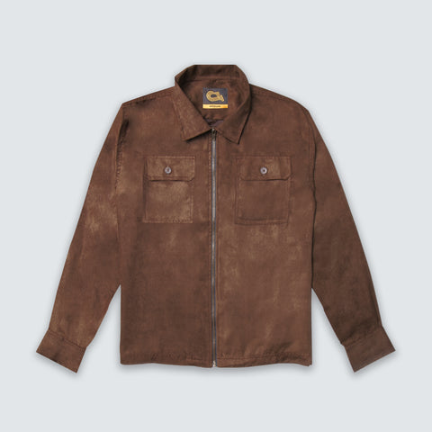 Harvey Suede Overshirt Jacket Scout Brown