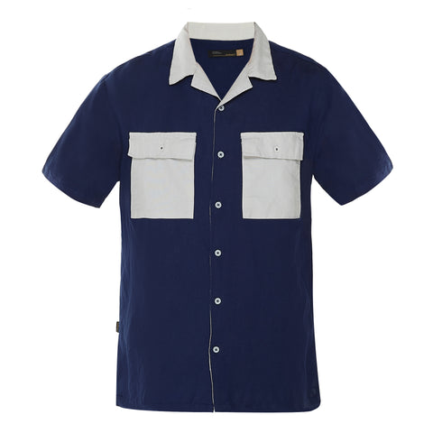 Detroit Navy Camp Collar Shirt