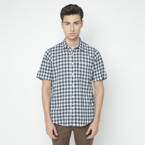 Saville Plaid Navy Shirt