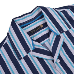 Ezra Stripes Bowling Shirt Navy Green