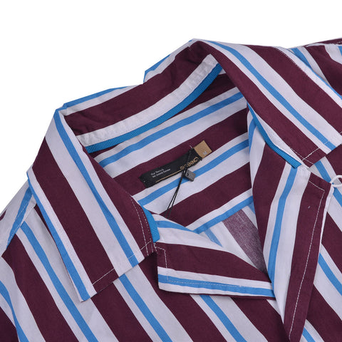 Ezra Stripes Bowling Shirt Maroon Blue