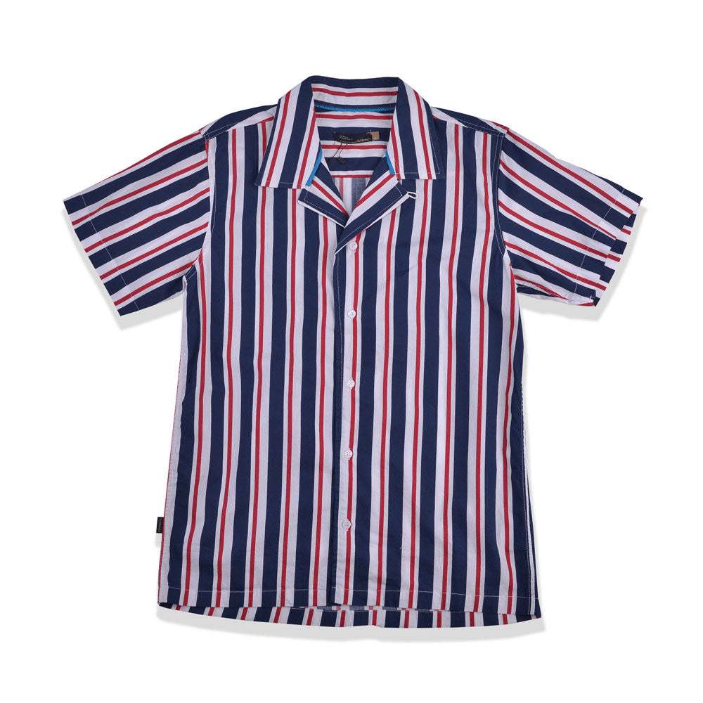 Ezra Stripes Bowling Shirt Navy Red