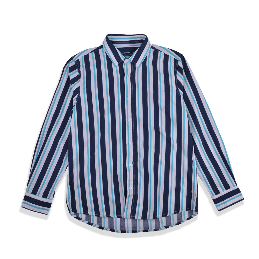 Andy Stripes Shirt Navy Green LS